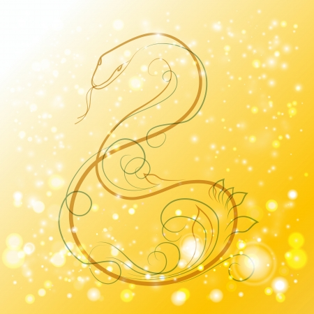 Abstract background of silver and gold light with snake.  Vector