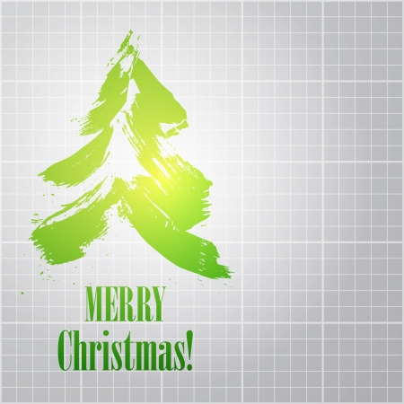 Painted christmas tree over blueprint background. Vector