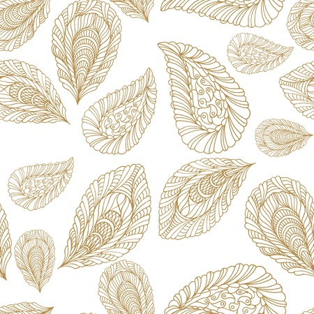 paper graphic: Seamless pattern with leaf in sepia