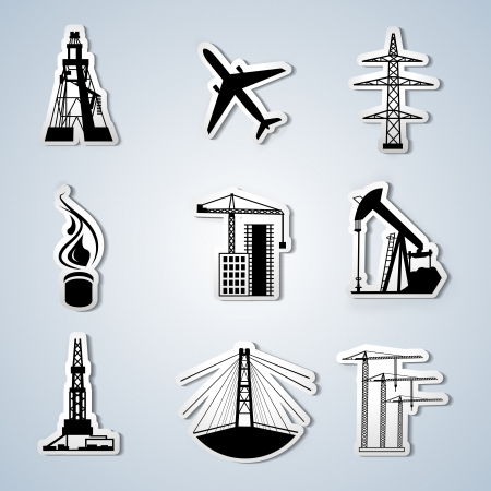 Paper Cut - Industry and Energy icons set  Vector illustration  Stock Vector - 16591376