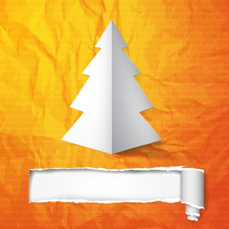 Creative Christmas tree card with cracked paper Illustration  Vector