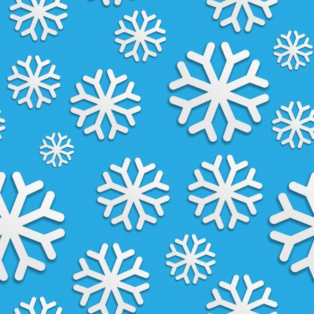 patterning: Seamless pattern with white snowflakes on blue Illustration