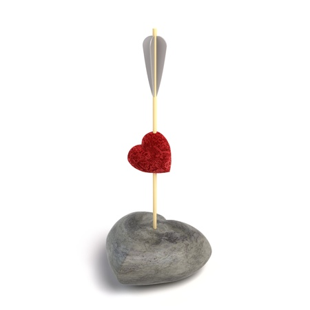 Arrow pierces two hearts, loving and stone  3D illustration Stock Illustration - 16988594