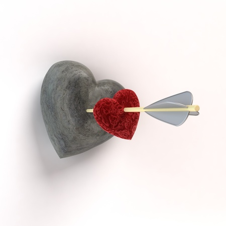 Arrow shot two hearts, loving and stone  3D illustration  illustration