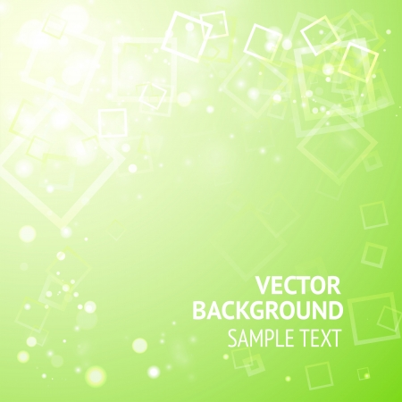 Green background with squares and lights, ready for your text  Vector Illustration, eps10, contains transparencies  Vector