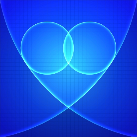 Heart in blue light over blue background  Vector illustration  Vector