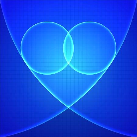 Heart in blue light over blue background  Vector illustration Stock Vector - 17169335