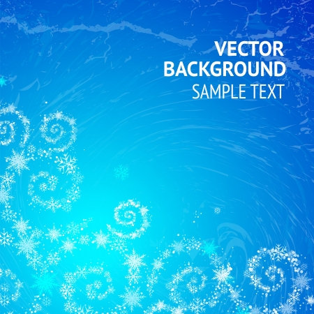 Abstract background with spiral curves of stars and snowflakes  Vector illustration  Vector