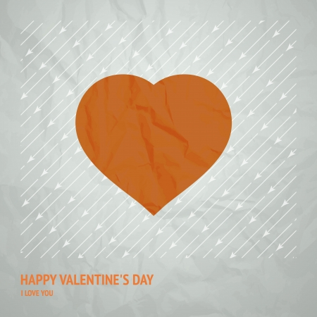 squashed: Torn paper heart over arrows background  Vector illustration