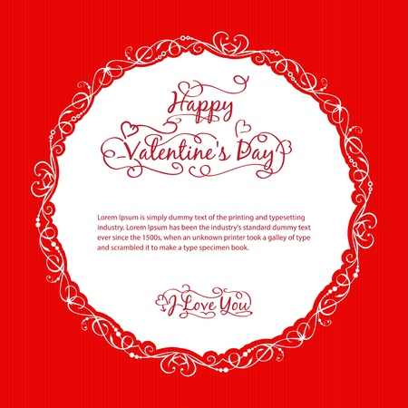 Valentine s day vintage card  Vector illustration  Vector