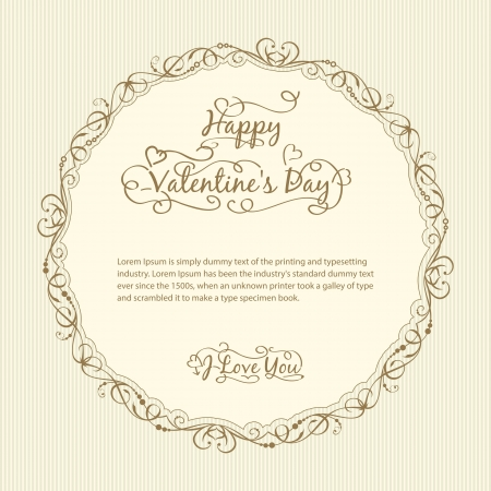 Valentine s day vintage card  Vector illustration  Stock Vector - 17169290