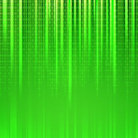 information systems: Binary code flowing over a green background  Vector illustration