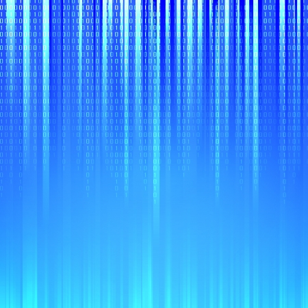 Binary code flowing over a blue background  Vector illustration
