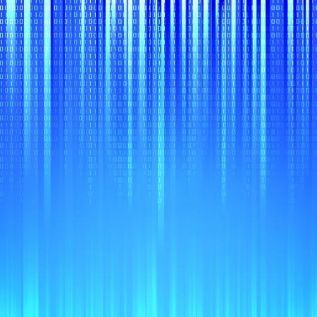 codigo binario: C�digo binario que fluye sobre un fondo ilustraci�n vectorial azul