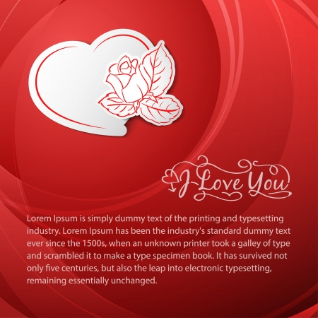 I love you  Valentine s Day card with heart   illustration  Vector