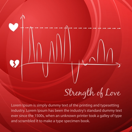 tachycardia: Rising love diagram over red background Illustration
