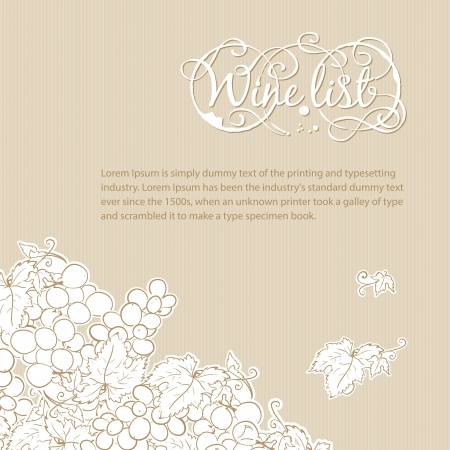 Wine list cover with grapes background Stock Vector - 17314378