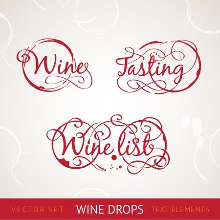 vino: Red wine drops over text and gray background Illustration