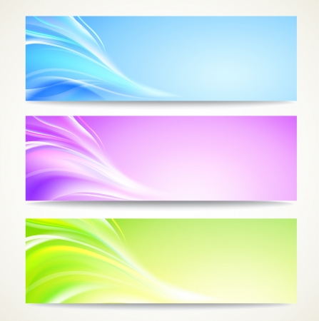 horizontal banner: Abstract banners set with smooth lines   background, contains transparencies