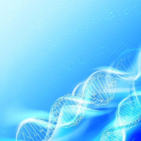 DNA magic figures against blue background illustration, contains transparencies