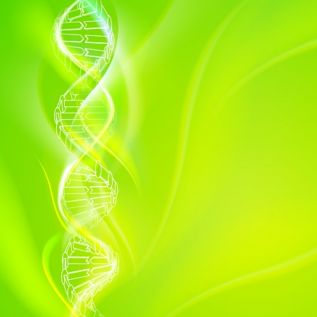 genetically modified organisms: DNA magic figures against green background   illustration, contains transparencies  Illustration
