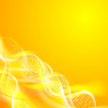DNA magic figures against orange background   illustration, contains transparencies  Illustration