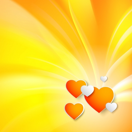 Stylish red heart over orange background  Vector illustration, contains transparencies Stock Vector - 17605936