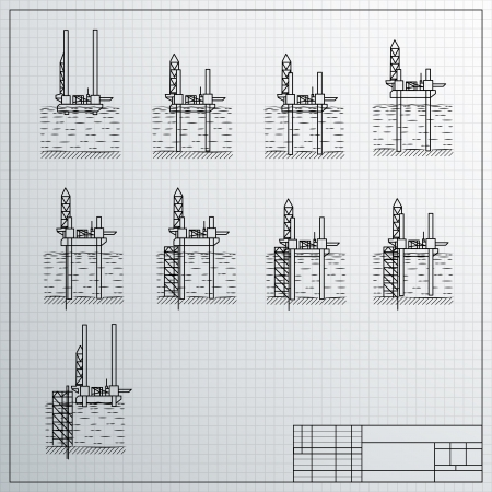 Sea Oil Rig Drilling Platform on Sketch  Vector illustration, contains transparencies  Vector