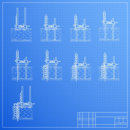 Sea Oil Rig Drilling Platform on Blueprint  Vector illustration, contains transparencies  Vector
