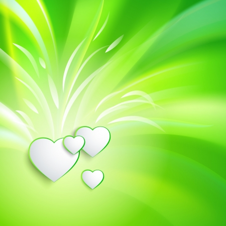 Stylish white heart over green background  Vector illustration, contains transparencies Stock Vector - 17605935
