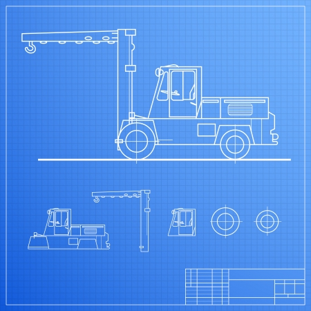 Lift truck blueprint  Vector illustration, contains transparencies  Stock Vector - 17605924