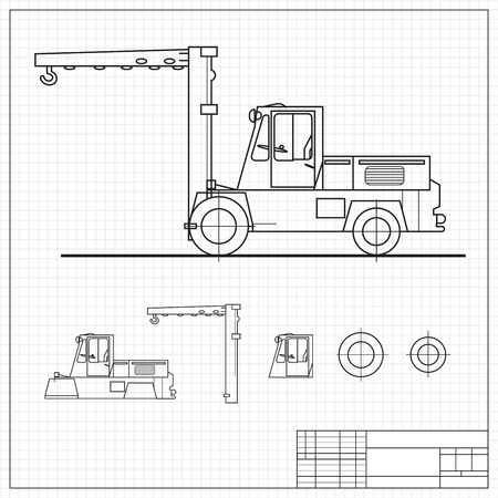Lift truck blueprint colored black  Vector illustration, contains transparencies  Stock Vector - 17605923