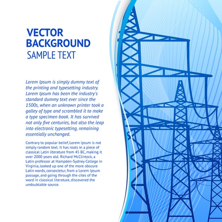 Electricity pylons silhouette over blue smooth backdrop  Vector illustration  Vector