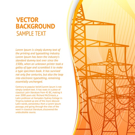Electricity pylons silhouette over orange smooth backdrop  Vector illustration, eps 10, contains transparencies  Vector