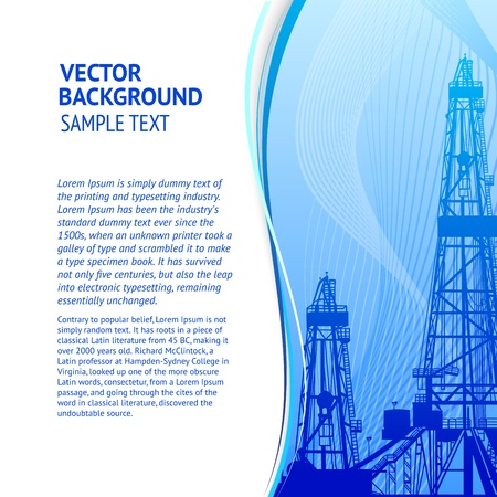 Oil rig banner for your text  Vector illustration