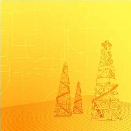 fracking: Industrial banner over orange backdrop  Vector illustration Illustration