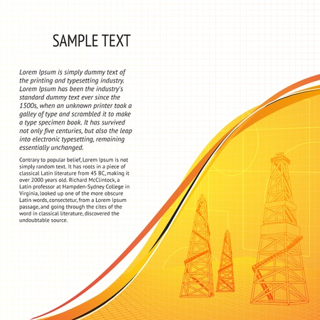 fracking: Oil derrick banner for your text  Vector illustration