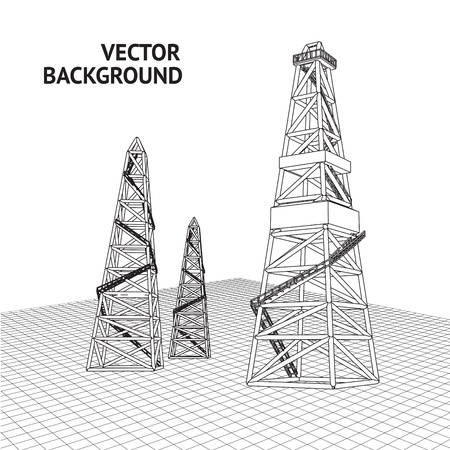 Oil derrick background for your text  Vector illustration Vector