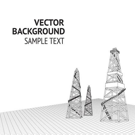 oil pipeline: Aceite derrick con fondo Ilustraci�n vectorial de texto de ejemplo Vectores
