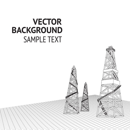 drilling machine: Oil derrick background with sample text  Vector illustration