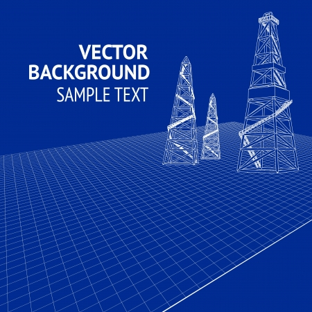 drilling machine: Oil derrick over blueprint  Vector illustration