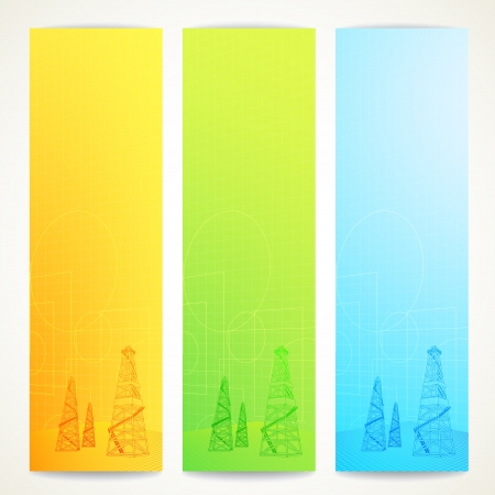 fracking: Oil derrick over vertical banner  Vector illustration