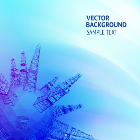 petroleum blue: Oil rig with an abstract image of the drill is producing oil  Vector illustration Illustration