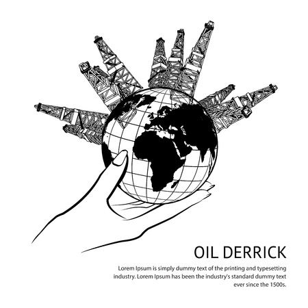 torres petroleras: Plataforma petrolera en la mano, aislados en blanco Ilustración vectorial Vectores