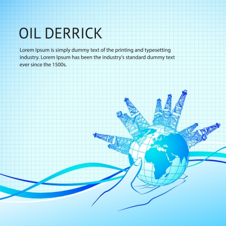 Oil derricks around the planet in woman hand  Vector illustration Vector