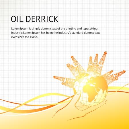 неочищенный: Нефтяные вышки вокруг планеты в руке женщины Векторные иллюстрации Иллюстрация