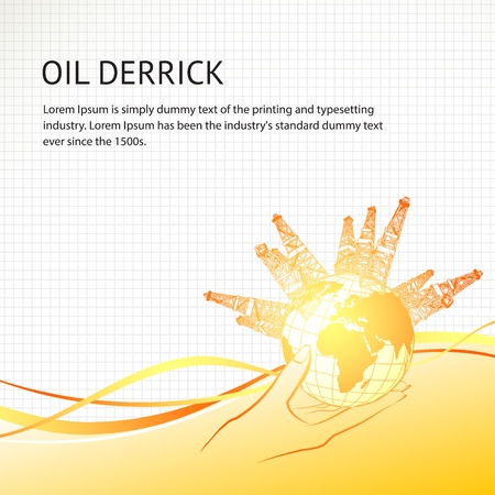 cuttings: Oil derricks around the planet in woman hand  Vector illustration