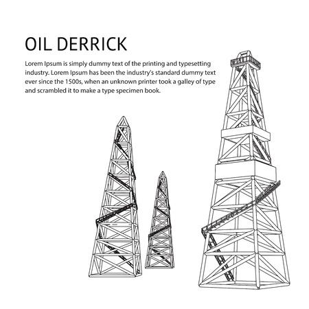 torres petroleras: Aceite de telón de fondo para su plataforma de ilustración vectorial de texto