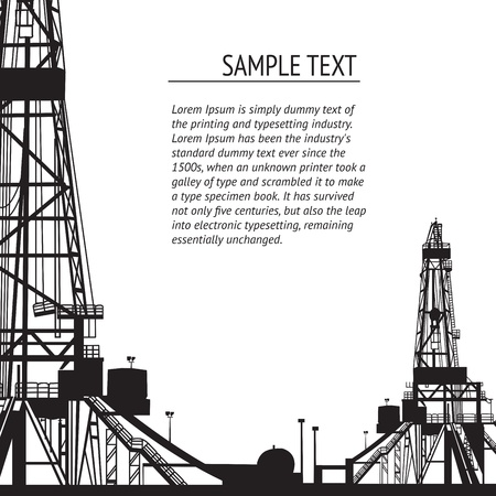 Oil rig banner for your text  Vector illustration  Vector