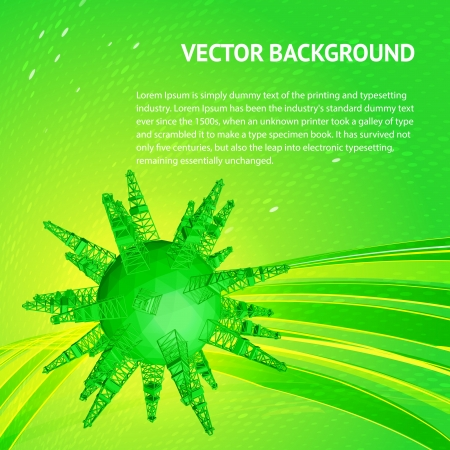 fracking: Friendly small Planet with oil rigs  Vector illustration Illustration